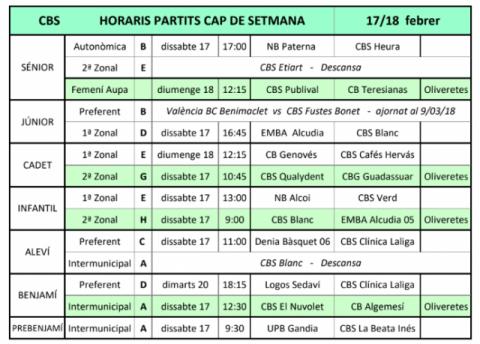 Horaris Jornada 17 i 18 de febrer